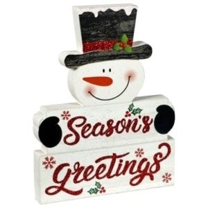 Wooden Snowman Seasons Greetings Home Decor